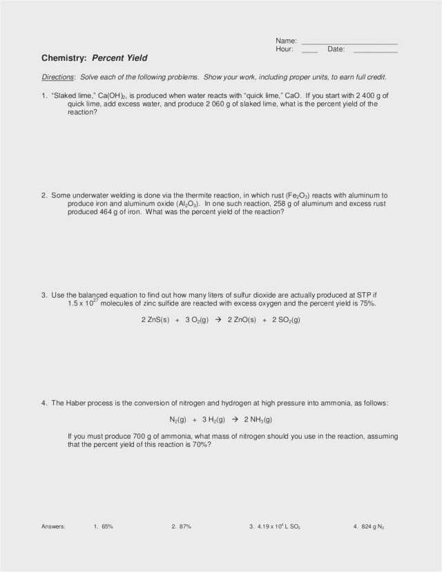 Limiting Reactant and Percent Yield Worksheet Answer Key Along with Percent Yield Worksheet 1 Kidz Activities