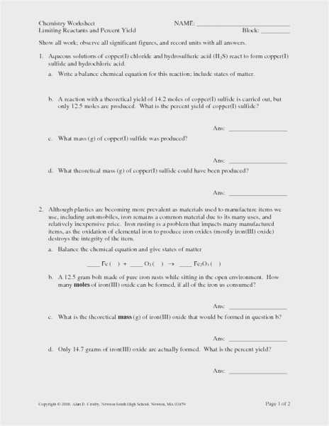 Limiting Reactant Worksheet Answers with Percent Yield Worksheet 1 Kidz Activities