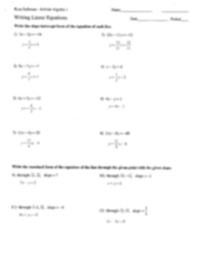 Linear Equations In One Variable Class 8 Worksheets as Well as 3 Kuta software Infinite Algebra 1 Writing Linear Equations Nam