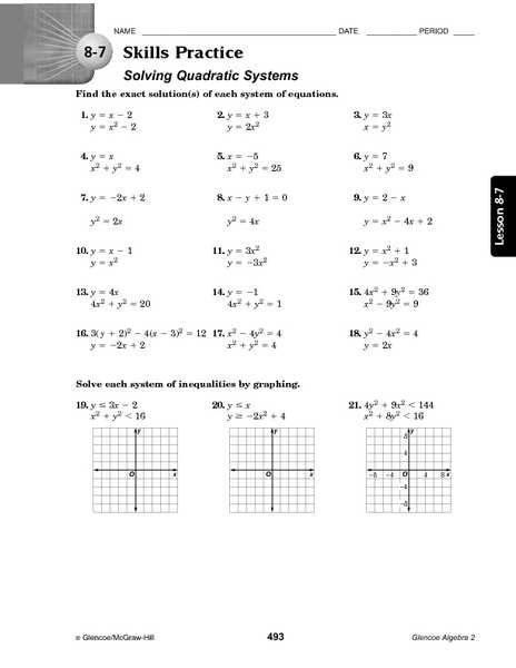 Linear Quadratic Systems Worksheet 1 Also Quadratic Equations and Inequalities Worksheet Kidz Activities