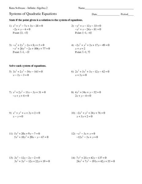 Linear Quadratic Systems Worksheet 1 and Quadratic Linear Systems Worksheet Kidz Activities