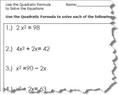 Linear Quadratic Systems Worksheet Along with Use the Quadratic formula to solve the Equations Quadratic formula