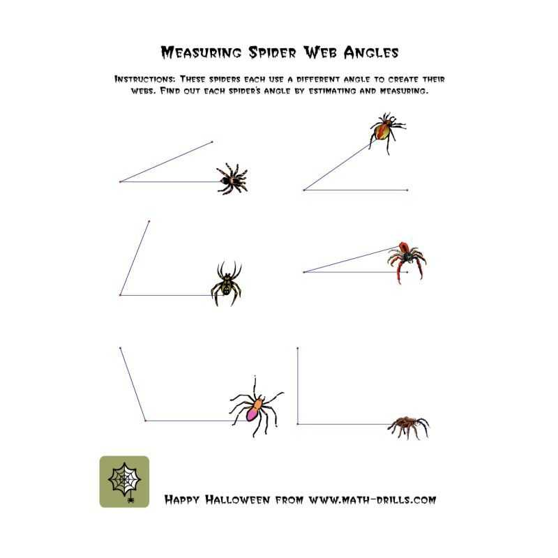 Lines and Angles Worksheet or Halloween Math Worksheet Measuring Spider Web Angles