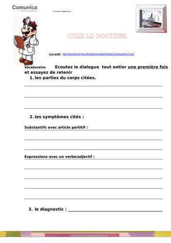 Linguascope Worksheet Answers Spanish Along with Elementary School French Resources Illness and Injury