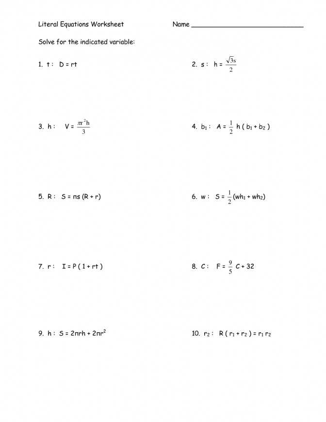Literal Equations Worksheet 1 Answer Key or solving Multi Step Equations Worksheet