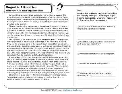 Magnetism Worksheet Answers and 192 Best Teaching About Magnets Images On Pinterest