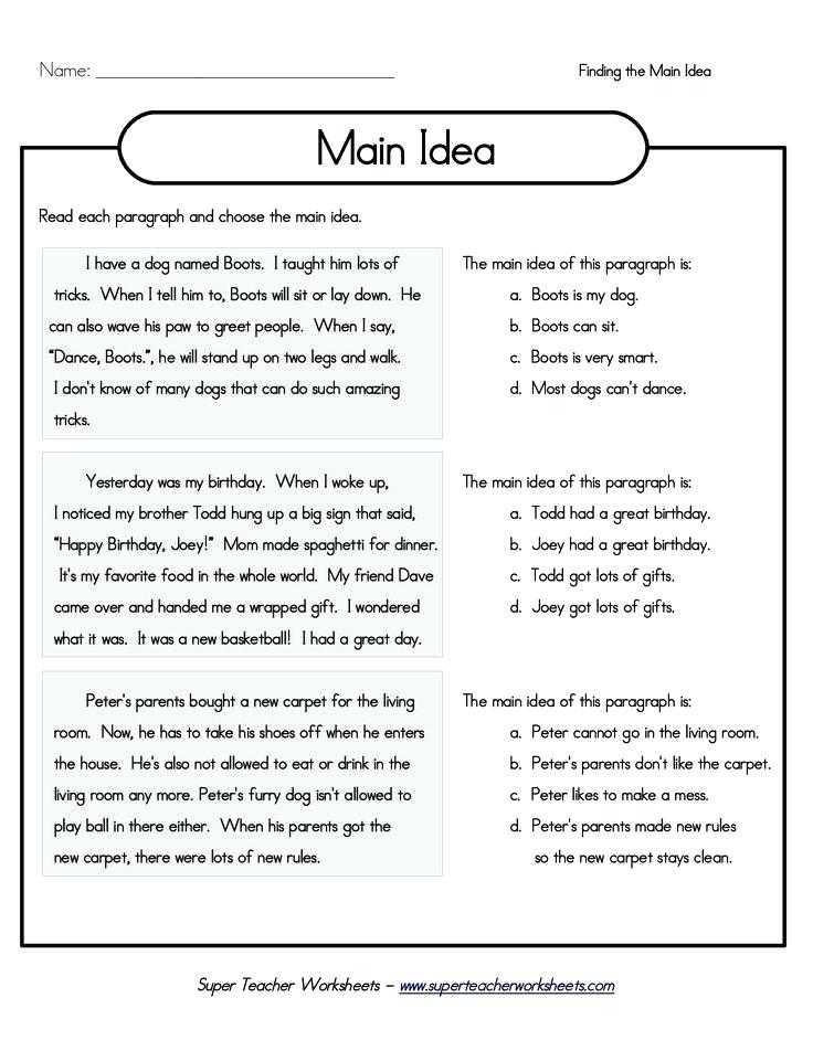 Main Idea Worksheets Pdf Also Reading Worksheets 3rd Grade Close Reading Passages 3rd Grade Tsi