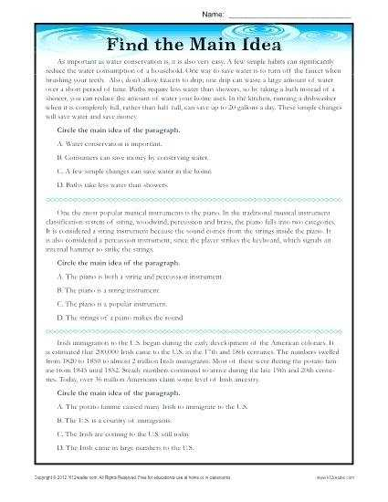 Main Idea Worksheets Pdf and 4th Grade Reading Worksheets for Perfect Reading Prehension