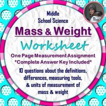 Mass and Weight Worksheet Answer Key Along with Mass and Weight Worksheet A Science Measurement Resource