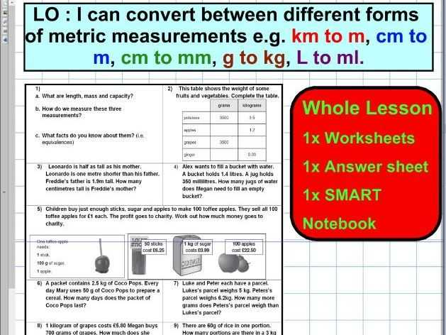 Mass and Weight Worksheet Answer Key and Convert Different forms Of Metric Units Mass Capacity Length