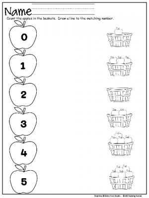 Matching Numbers Worksheets and 58 Best Kindergarten Fall Images On Pinterest