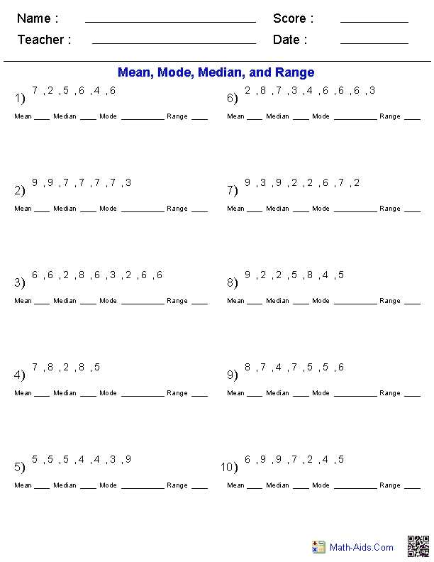 Mean Mode Median and Range Worksheet Answers together with Math Aids Variety Of Custom Worksheets Generated