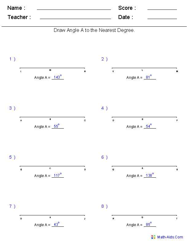 Measurement Conversion Worksheets and Drawing Angles to A Measurement Worksheets Angles