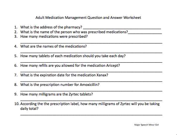 Medication Management Worksheet or A Worksheet Was Made to Go Along with the Previous Medication
