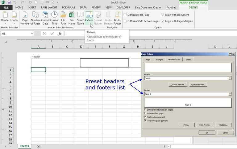 Menu Engineering Worksheet Excel together with Add Preset or Custom Headers and Footers to Excel Worksheets