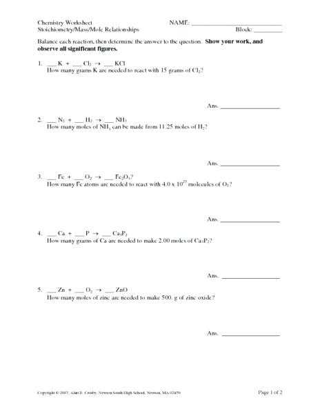 Mole Conversion Worksheet with Answers Along with Mole Calculation Answers Wallpapers 45 Inspirational Mole