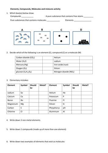 Molecular Compounds Worksheet Answers Also Answers to Elements Pounds and Mixtures Worksheet Kidz Activities