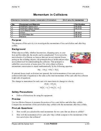 Momentum and Collisions Worksheet Answers Also Momentum Worksheet Faculty
