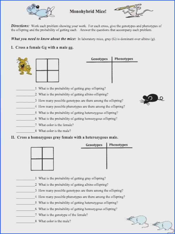 Monohybrid Cross Practice Problems Worksheet and Inspirational Monohybrid Cross Worksheet Awesome the Punnett Square