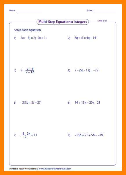 Multi Step Equations Worksheet or 2 Step Equations Worksheets