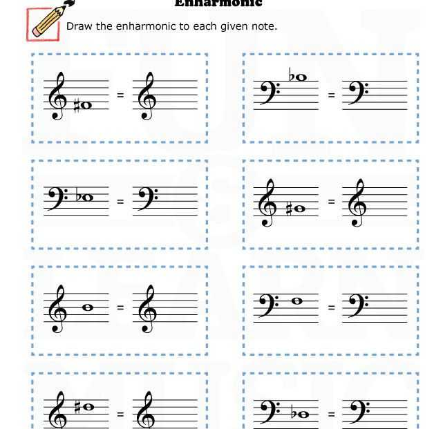 Music theory Worksheets with Music Worksheets Enharmonic 002 Accidentals Pinterest
