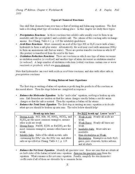 Net Ionic Equations Advanced Chem Worksheet 10 4 Answers or Types Of Chemical Reactions Worksheet Lesson Planet