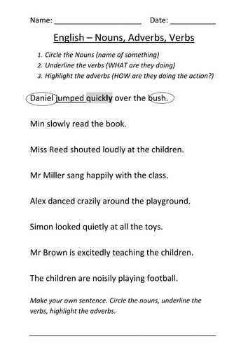 Noun Verb Adjective Adverb Worksheet Along with Sentences with Nouns and Adjectives Worksheets