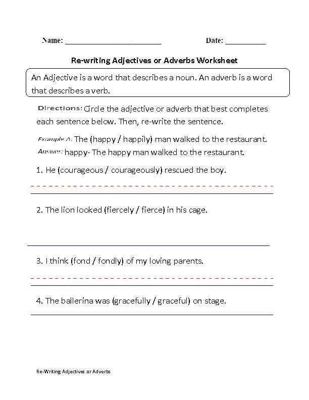 Noun Verb Adjective Adverb Worksheet with Sentences with Nouns and Adjectives Worksheets