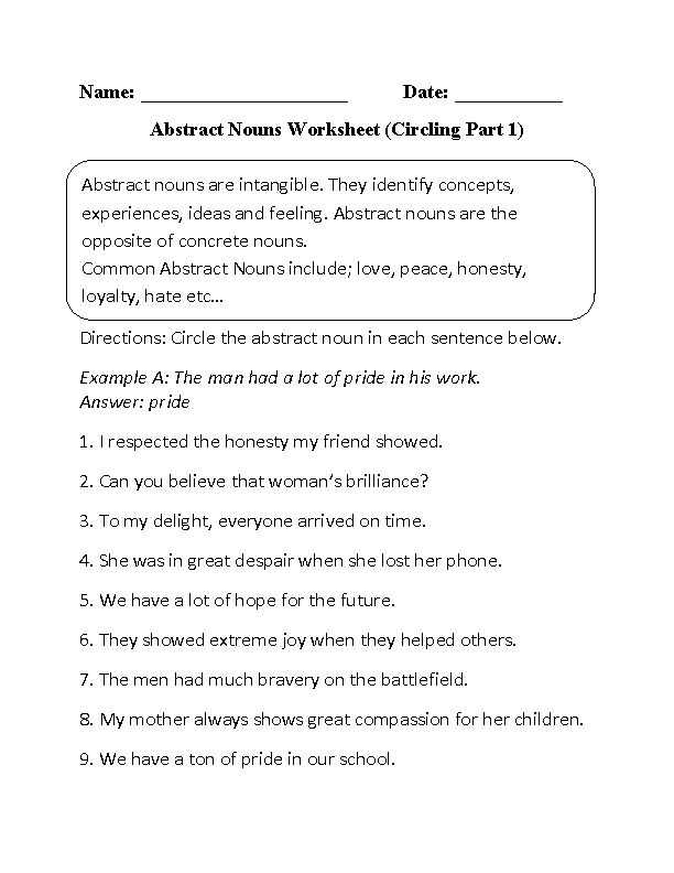 Nouns Worksheet 3rd Grade Along with 13 Best Abstract Nouns Images On Pinterest