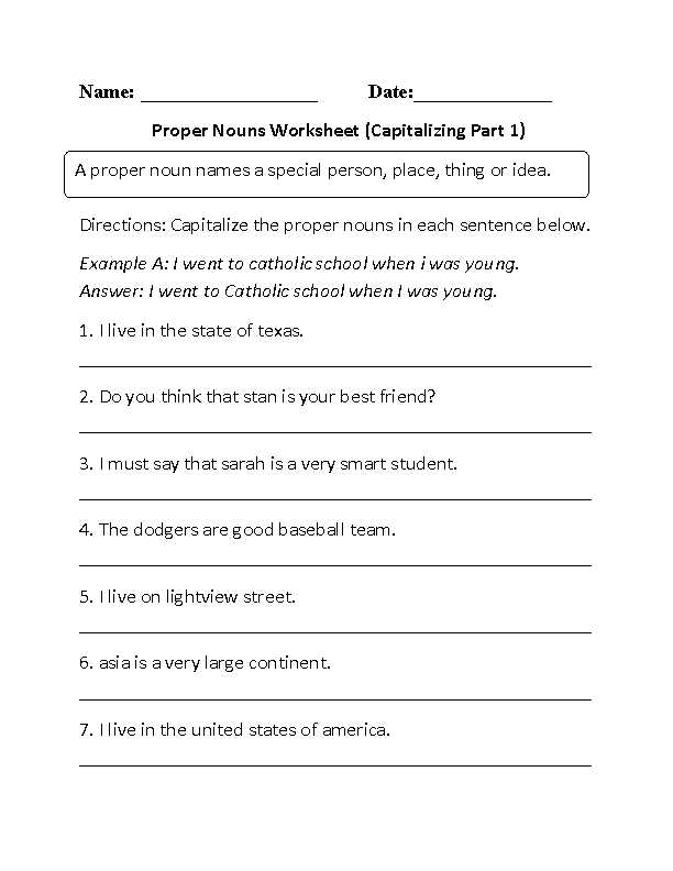 Nouns Worksheet 3rd Grade as Well as Capitalizing Proper Nouns Worksheet Projects to Try