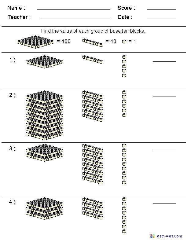 Number and Operations In Base Ten Grade 4 Worksheets or Base 10 Blocks Worksheet Worksheets for All