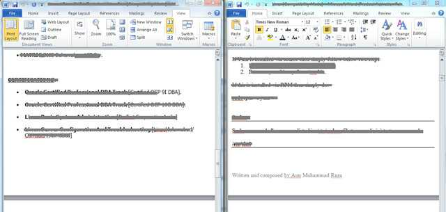 Office 365 Cost Comparison Worksheet or Microsoft Word 2010 View Two Documents Side by Side