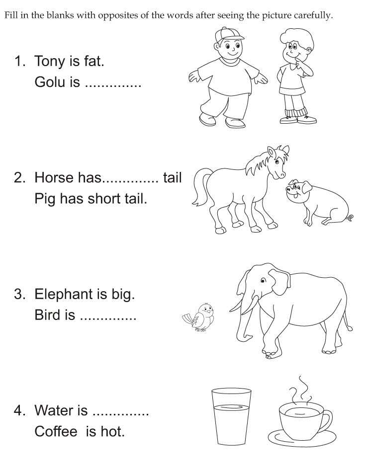 Opposites Preschool Worksheets Also Opposites Coloring Pages