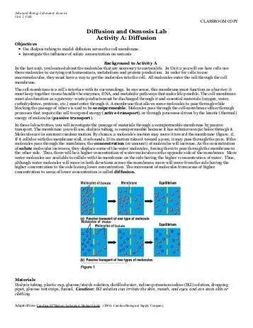 Osmosis and tonicity Worksheet Also Diffusion and Osmosis Worksheet Answers Fresh Osmosis and tonicity