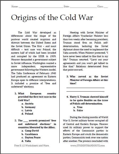 Outline Of the Constitution Worksheet as Well as origins Of the Cold War