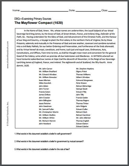 Outline Of the Constitution Worksheet with Mayflower Pact 1620 Dbq Worksheet for High School U S