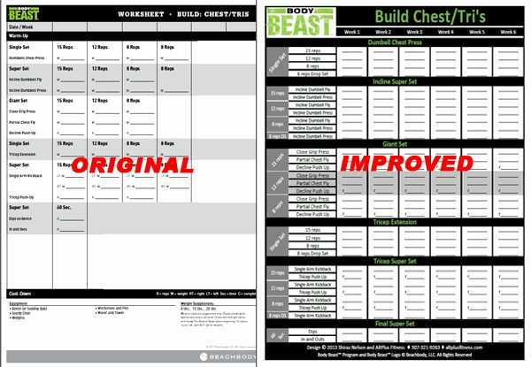 P90x Shoulders and Arms Worksheet with P90x Chest and Back Workout Sheet Inspirational Body Beast Workout