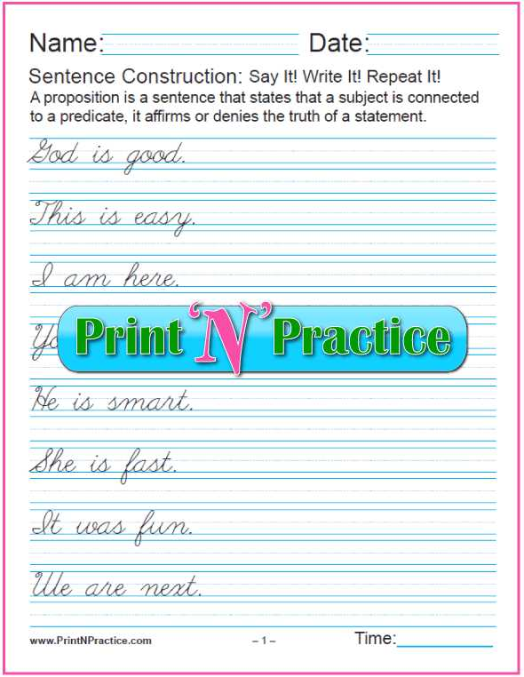 Parallel Structure Practice Worksheet with 20 Simple Cursive Sentences ⭐ Grammar Worksheets