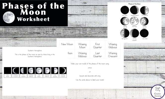Phases Of the Moon Printable Worksheets as Well as Free Printable Phases Of the Moon Simple Living Creative Learning