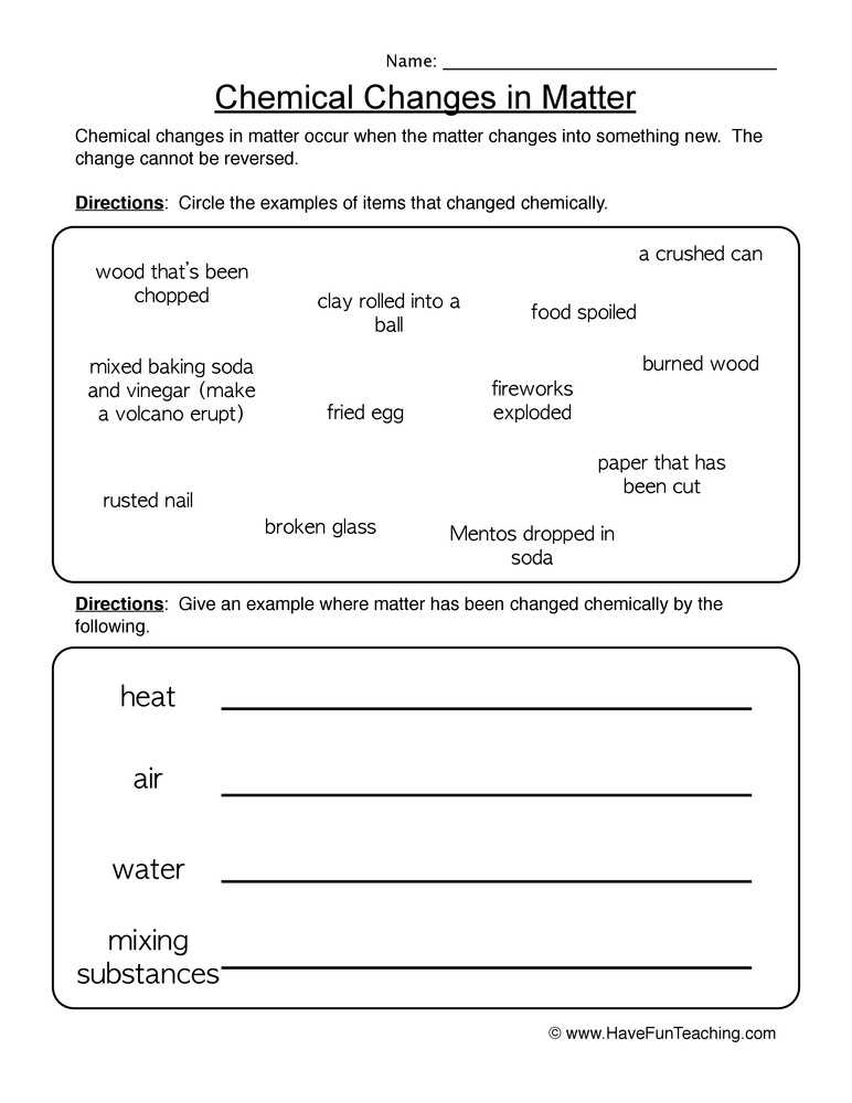 Physical and Chemical Changes Worksheet Also 19 Awesome Physical and Chemical Changes Worksheet Answers