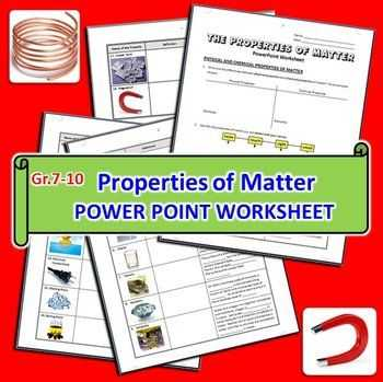 Physical and Chemical Properties Worksheet Also Properties Of Matter Powerpoint Worksheet Editable