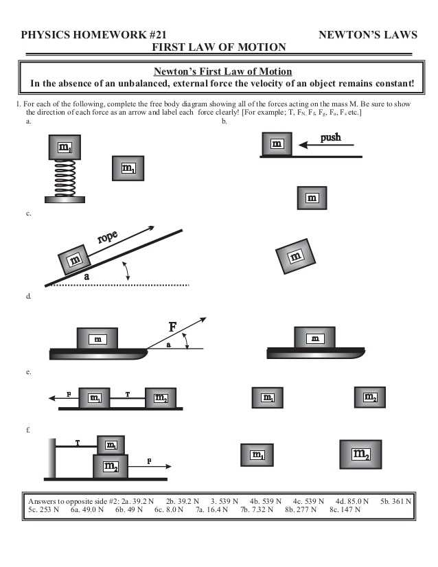 Physics force Worksheets with Answers together with Home Worksheets Review