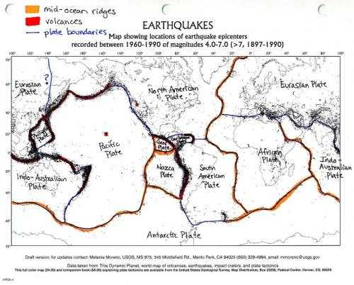 Plate Tectonics Worksheet Also Color Coded and Labelled World Earthquake Map Good Activity