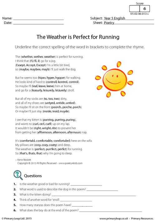 Poetry Comprehension Worksheets as Well as Prehension Poems