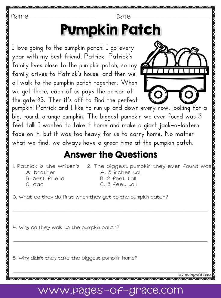 Poetry Comprehension Worksheets with Reading Prehension Passages and Questions for October