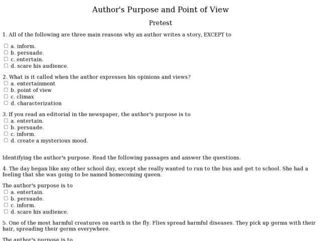 Point Of View Worksheet Answers Along with Point View Worksheets 7th Grade Kidz Activities
