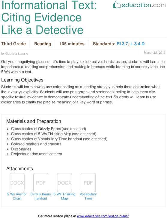 Point Of View Worksheet Answers Also Informational Text Citing Evidence Like A Detective