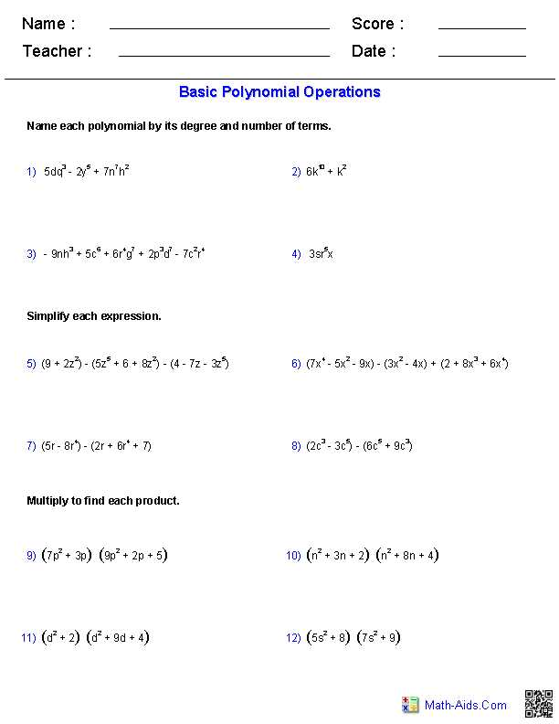 Polynomials Worksheet Pdf and Polynomial Functions Worksheets Algebra 2 Worksheets