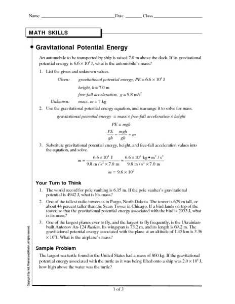Potential Energy and Kinetic Energy Worksheet Answers and Math Skills Worksheet Kinetic Energy Kidz Activities