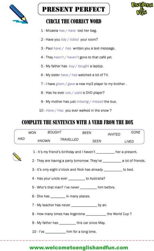 Present Perfect Tense Exercises Worksheet together with Present Perfect Past Simple Worksheets Pdf 4th Grade